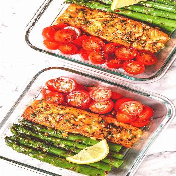 15 Minute Meal-Prep Garlic Butter Salmon with Asparagus - - This easy garlic butter salmon meal pre