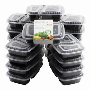 20 Pack Bento Box, [32 oz] 2 Compartment Meal Prep