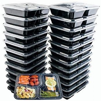 24 Pack of 32 Ounce Lunch To Go Containers, 3 Compartment