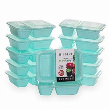 BINO Meal Prep Containers with Lids - 2 Compartment /30 oz