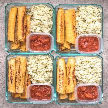Creamy Black Bean Taquitos pair with tangy Cilantro Lime Rice for a simple and satisfying meal prep