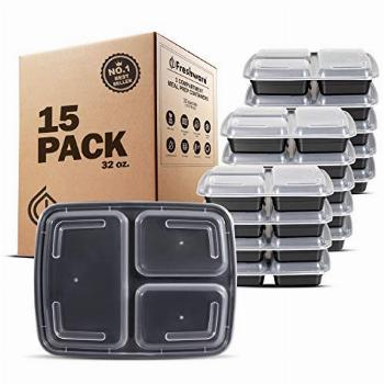 Freshware Meal Prep Containers [15 Pack] 3 Compartment with