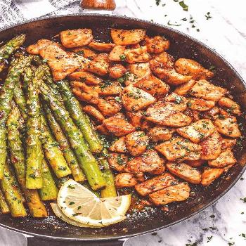 Garlic Butter Chicken Bites and Lemon Asparagus - - So much flavor and so easy to throw together, t