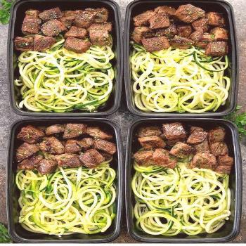 GARLIC BUTTER STEAK BITES WITH ZUCCHINI NOODLES MEAL PREP flavorful garlic butter sauce and served