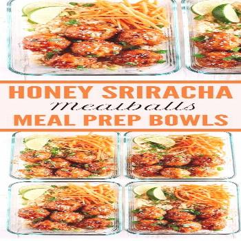Honey Sriracha Glazed Meatballs  So happy to have received this Meal Prep Recipes !!! | Meal Prep R