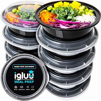 Igluu Meal Prep Round Plastic Containers - New Improved Lid