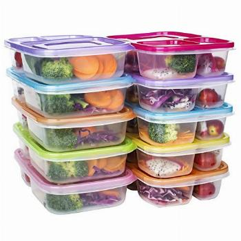 Meal Prep Containers 3 Compartment Food Storage Reusable