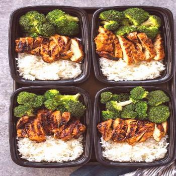 Quick skillet chicken, rice, and steam broccoli all made in under 20 minutes for a healthy meal-pre