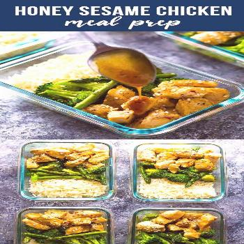 These Honey Sesame Chicken Lunch Bowls have chicken breast, broccoli and asparagus tossed in a swee