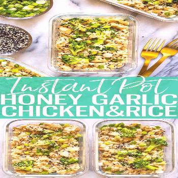 These Instant Pot Honey Garlic Chicken Meal Prep Bowls are a delicious make ahead lunch idea that c