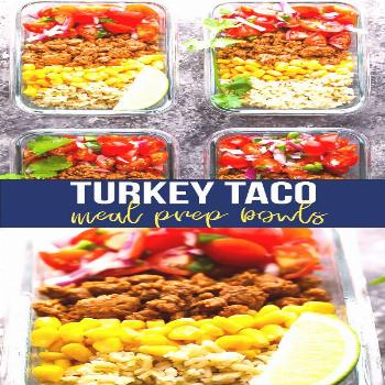 These turkey taco meal prep bowls with turkey taco meat, corn, pico de gallo and brown rice are sim