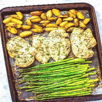 This Sheet Pan Chicken and Asparagus with lemony potatoes is an easy, delicious Whole 30 approved m