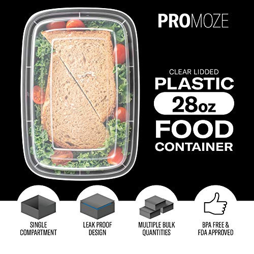 50-Pack Meal Prep Plastic Microwavable Food Containers For