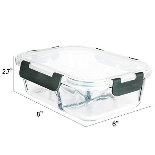 [5-Pack, 36 oz]Glass Meal Prep Containers 3 Compartment with