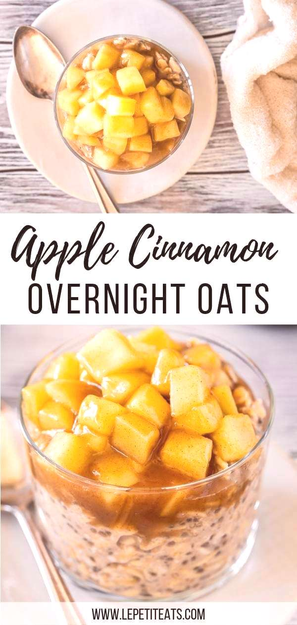 Apple Cinnamon Overnight Oats ( Vegan )   These healthy protein-packed morning oats with chia seeds