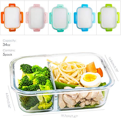 Glass Meal Prep Containers 2 Compartment Set, 5-Pack, 34oz,