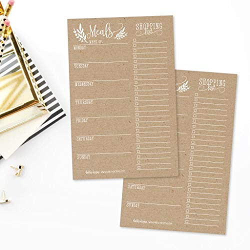 Rustic Weekly Meal Planning Calendar Grocery Shopping List