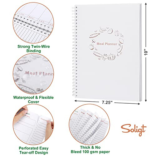 Weekly Meal Planner Notebook and Food Planner with Easy Tear